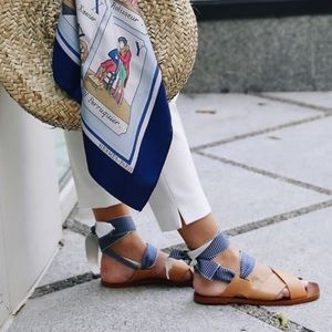 Zara Leather Slide Sandals Interchangeable Straps